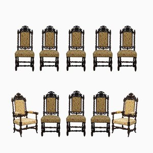 Jacobean Style Oak Dining Chairs, 1800s, Set of 10