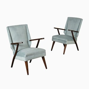 Vintage Argentinian Velvet Easy Chairs, 1950s, Set of 2