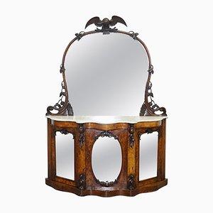 Antikes viktorianisches Sideboard aus Nussholz & Marmor