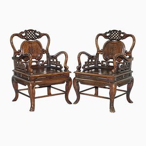 Antike chinesische Qing-Dynastie Thron-Sessel, 2er Set