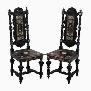 Beistellstühle aus ebonisiertem Holz & Bronze, 19. Jh., 2er Set