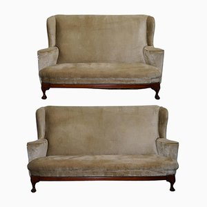 Victorian George I Style Settees, Set of 2