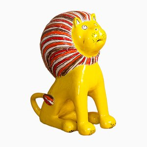 Enameled Sandstone Lion Sculpture by Bruno Gambone, 1970s