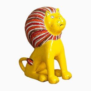 Escultura de león de arenisca esmaltada de Bruno Gambone, años 70