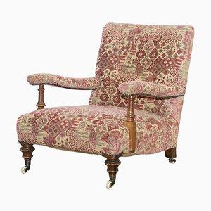 Antiker viktorianischer Howard Sessel mit Gestell aus Nussholz