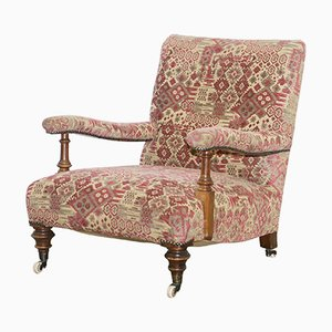 Antique Victorian Walnut Howard Armchair
