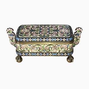 Antiker emaillierter vergoldeter & versilberter Cloisonné Behälter mit Deckel von Pavel Ovchinnikov & Ivan Khlednikov