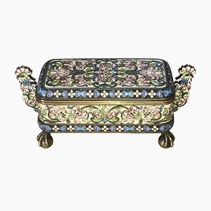 Antique Russian Silver Gilt Cloisonné Enamel Lidded Box by Pavel Ovchinnikov & Ivan Khlednikov