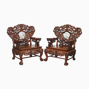 Large Chinese Dragon Throne Armchairs, 1930s, Set of 2