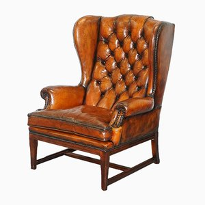 Vintage Whisky Brown Leather Chesterfield Wingback Armchair