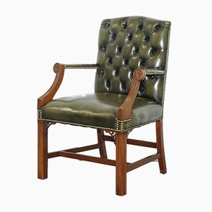 Green Leather Chesterfield Gainsborough Carver Armchair, 1980s