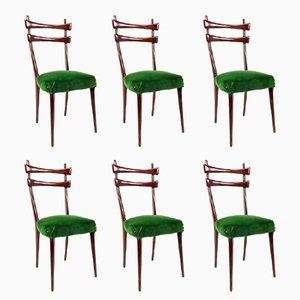 Italienische Esszimmerstühle mit Samtsitz, 6er Set