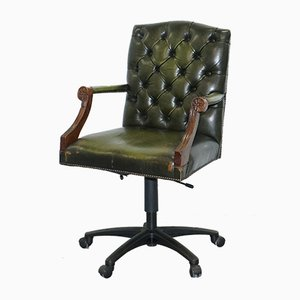Vintage Green Leather Swivel Chair from Bevan Funnel
