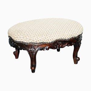Antique Georgian Mahogany Hand-Carved Footstool