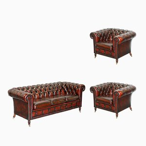 Bordeaux Leather Chesterfield Sofa & 2 Armchairs Set, 1980s