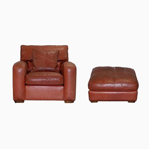 Vintage Brown Leather Armchair & Stool Set from Duresta Panther