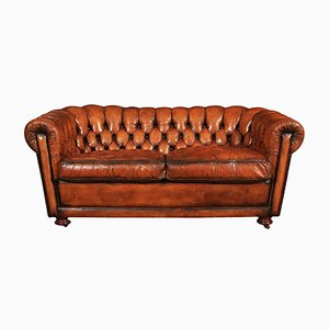 Vintage Two-Seater Chesterfield Leather Sofa