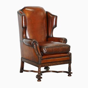 Antique William & Mary Style Wingback Armchair
