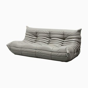Grey Leather Togo Sofa by Michel Ducaroy for Ligne Roset, 1970s