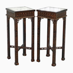 Antique Marble & Carved Wood Plant Stands, Set of 2