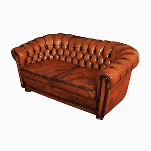 Vintage Hand Dyed Leather Buttoned Chesterfield Sofa, 1970s