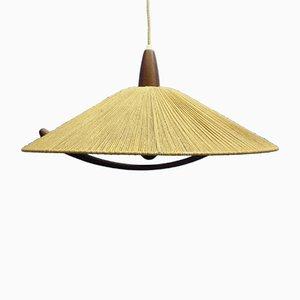 Lámpara colgante Mid-Century de teca y sisal de Temde, años 60