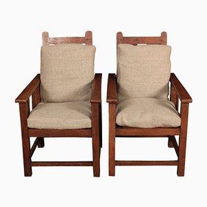 Lehnsessel Kinderstühle aus massivem Eichenholz, 1920er, 2er Set