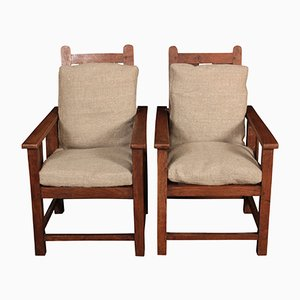 Reclining Solid Oak Children's Armchairs, 1920s, Set of 2