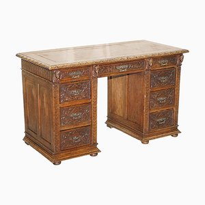 Gothic Style Oak & Leather Desk, 1800s