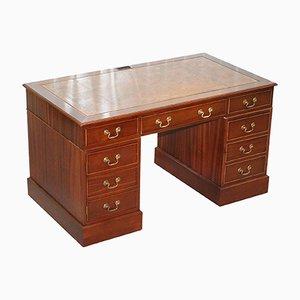 Partner-Schreibtisch aus Mahagoni mit Lederauflage