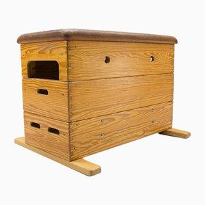 Banco de gimnasia vintage de madera y cuero