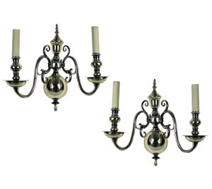 English Silver-Plated Wall Sconces, 1800s, Set of 2