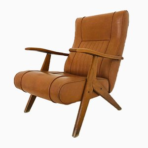 Vintage Brown Skai Chair, 1970s