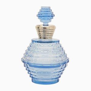 Bote para perfume Art Déco de cristal tallado en azul y cuenco para polvos de Francois Koozi, años 30