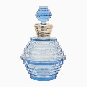 Bouteille Parfum & Coupe Poudrée Bleue Art Déco en Verre Taillé par François Koozi, 1930s