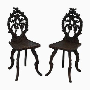 Black Forest Carved Linden Wood Hall Chairs, 1870s, Set of 2