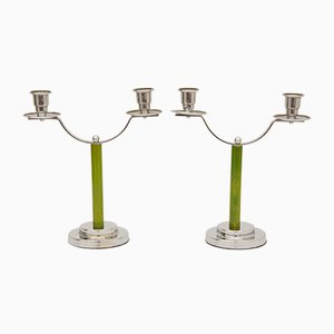 Art Deco Green Bakelite Candleholders, 1930s, Set of 2