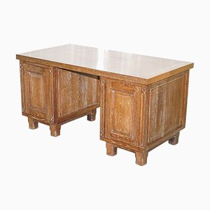Art Deco Limed Oak Double-Sided Twin Pedestal Partner Desk
