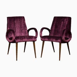 Mid-Century Italian Velvet Chairs, Set of 2