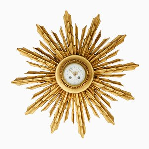 Antique Gilt Birch Sunburst Wall Clock