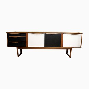 White & Black Teak Sideboard, 1960s
