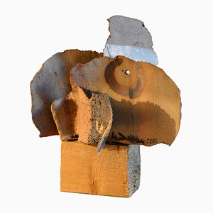 Brutalist Italian Painted Ceramic Sculpture by Bruno Gambone, 2003