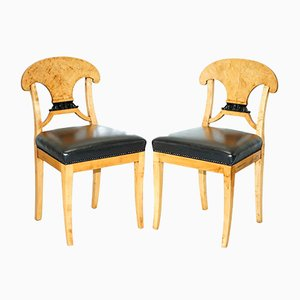 Antique Swedish Biedermeier Satin Birch Occasional Chairs, Set of 2