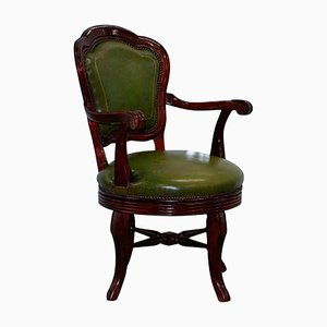 Antique Green Leather & Mahogany Swivel Office Chair