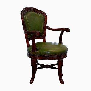 Chaise de Bureau Pivotante Antique en Acajou et Cuir Vert