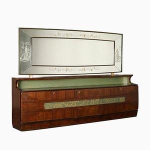 Italienisches Vintage Buffet aus Palisanderfurnier & Glas, 1950er