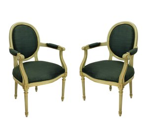 French Painted and Gilded Armchairs, 1950s, Set of 2