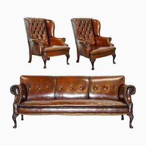 Antique Brown Leather Set with Chesterfield Sofa & 2 Wingback Armchairs