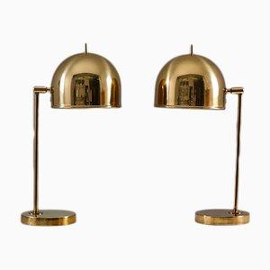 Lampes de Bureau Modèle B-075 Mid-Century en Laiton par Eje Ahlgren pour Bergboms, Set de 2