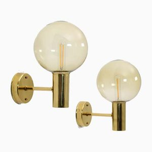 Mid-Century Swedish Brass & Glass Wall Lamp by Hans-Agne Jakobsson